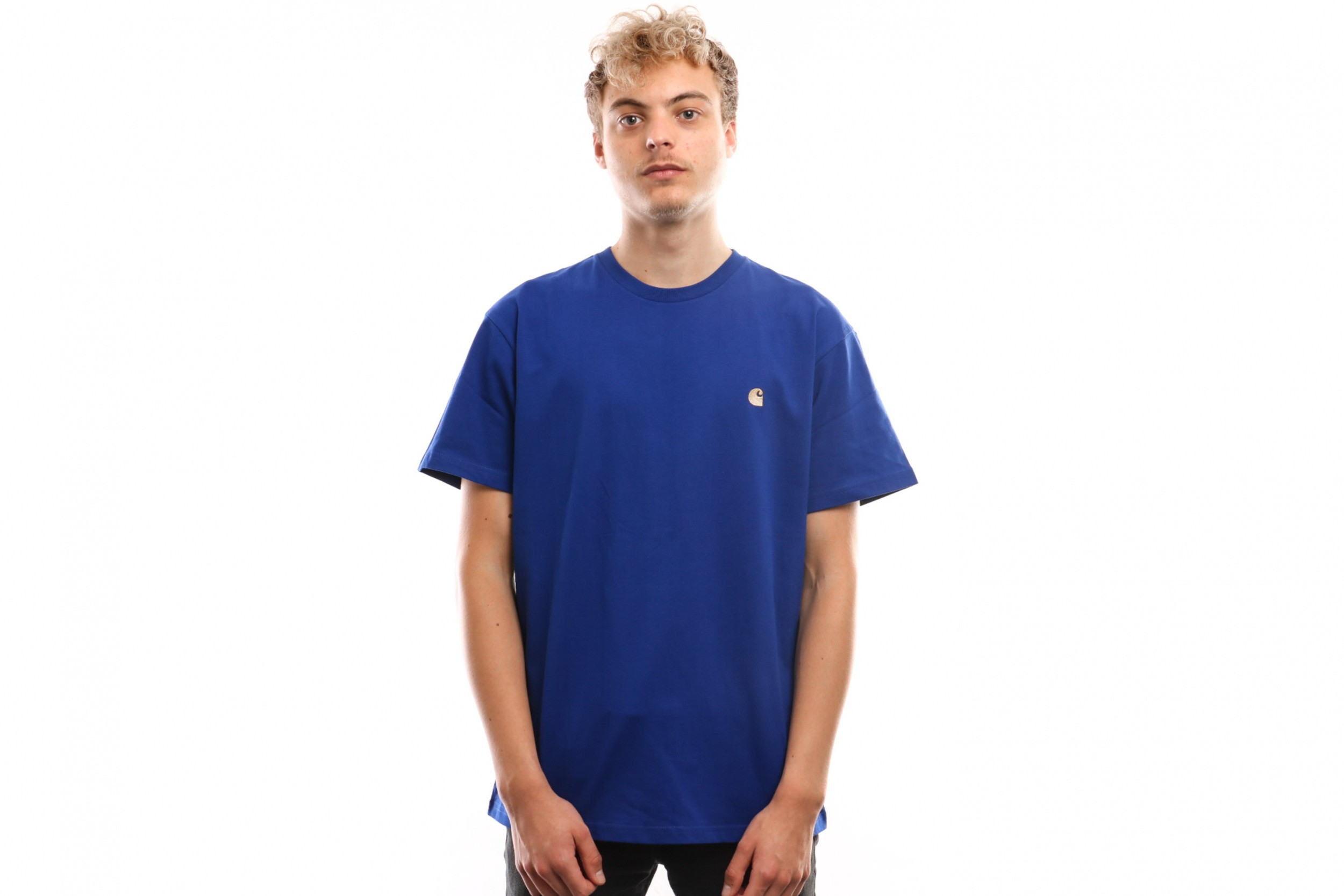 Afbeelding van Carhartt Wip S/S Chase T-Shirt I026391 T Shirt Thunder Blue / Gold
