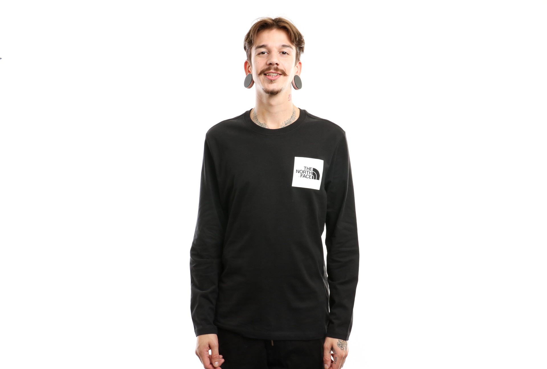Foto van The North Face L/S Fine Tee T937Ftky4 Longsleeve Tnf Black/Tnf White
