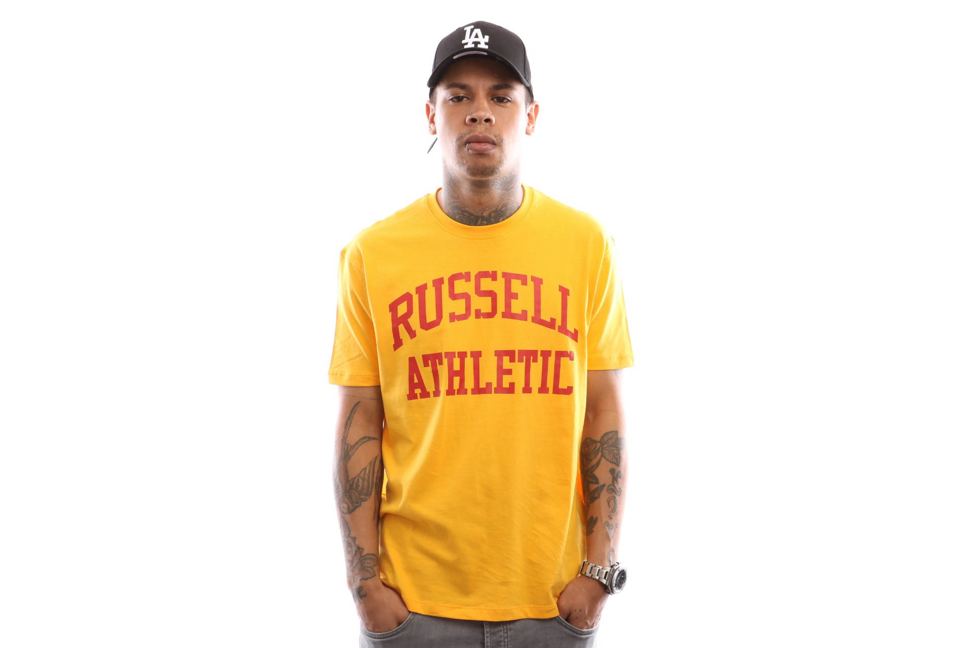 Russell Athletic Iconic Short Sleeve A9-002-1 T Shirt Gold Fusin