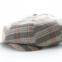 Brixton Flapcap Brood Snap Cap Grey/Tan Plaid 6