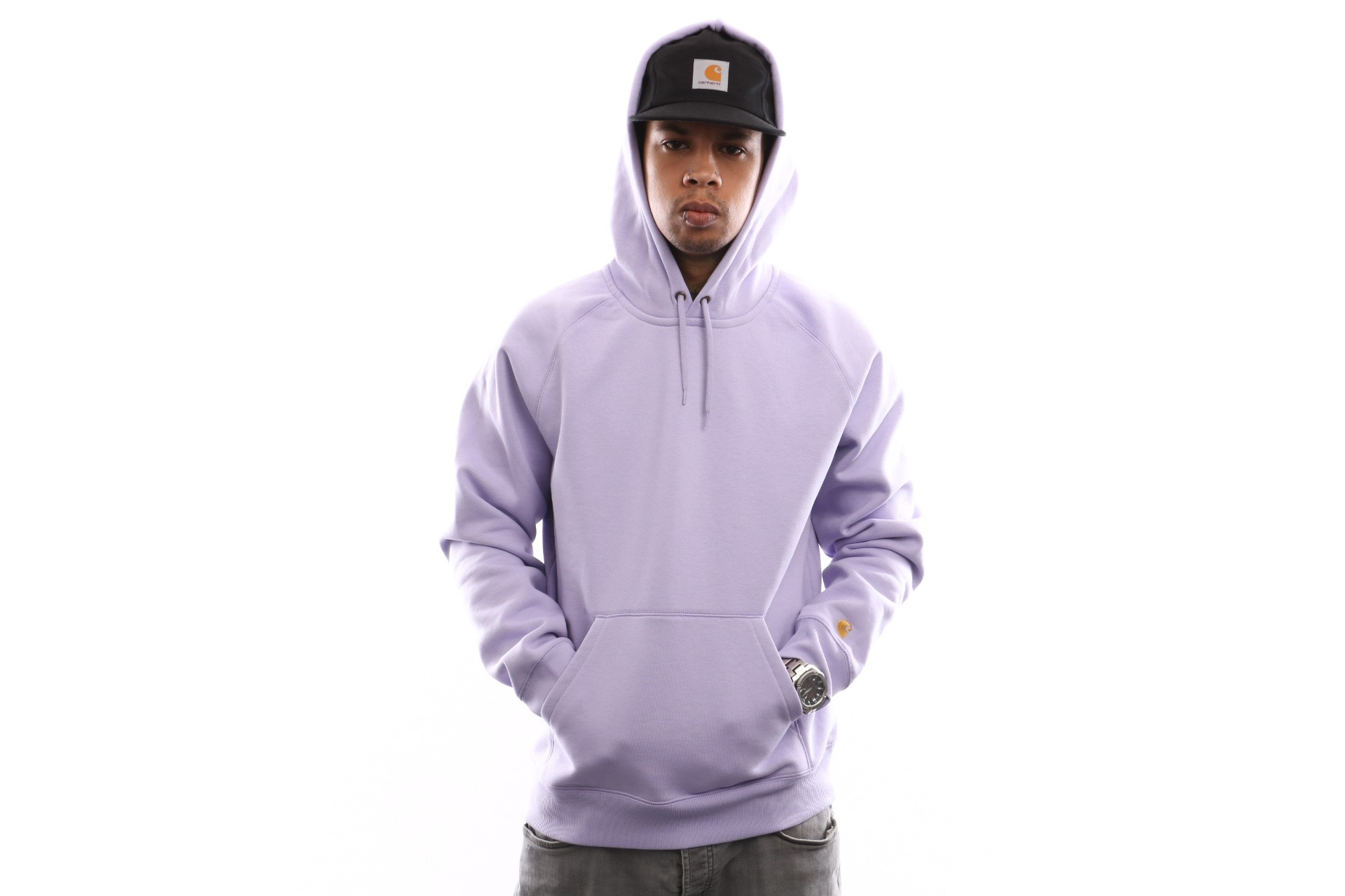 Foto van Carhartt Wip Hooded Chase Sweat I026384 Hooded Soft Lavender / Gold